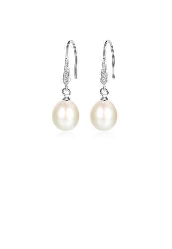 Glamorousky white 925 Sterling Silver Elegant and Fashion White Freshwater Pearl Earrings with Cubic Zirconia E2806AC13A9807GS_1