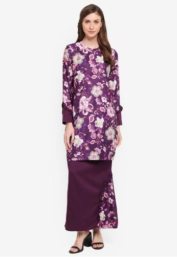 Gene Martino purple Flower Print Kurung Modern 7A1CAAAD2CAE46GS_1