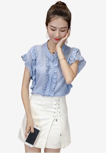 hk-ehunter blue Women Frill Regular Fit Shirt C97EEAA7EA3639GS_1