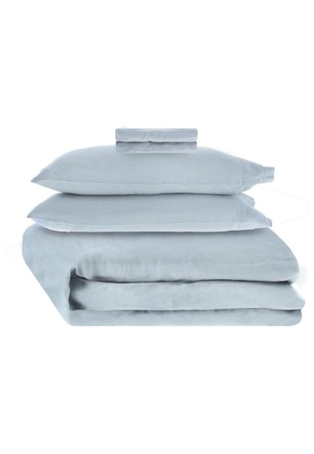 Sunday blue French Linen Sheet Set in Misty Blue. 24A40HL7242789GS_1