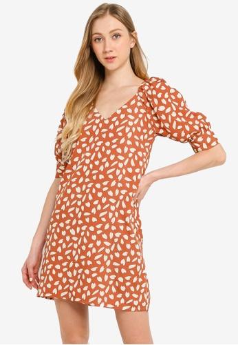 Compania Fantastica red Petals Print Dress 2EA49AA8C30F74GS_1