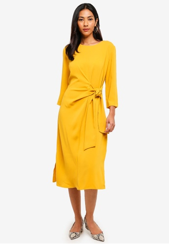 WAREHOUSE yellow Twist Knot Dress C96EFAA08DB719GS_1