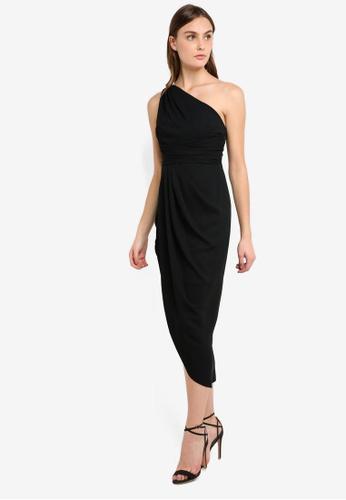 Forever New black Mandy One Shoulder Drape Midi Dress 5A183AA52A8A34GS_1