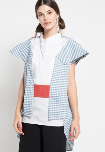 Oline Workrobe blue Origami Layered Top OL983AA26FXTID_1