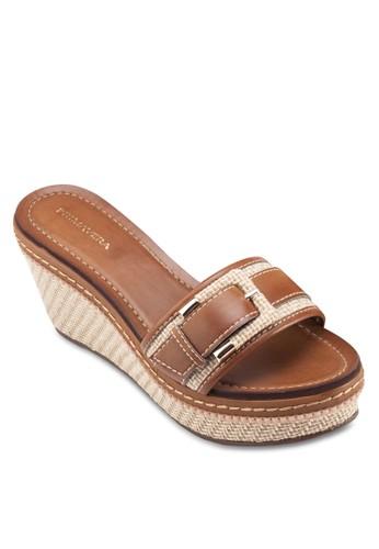Penelope 扣環寬帶麻編楔形鞋, 女esprit高雄門市鞋, 楔形涼鞋