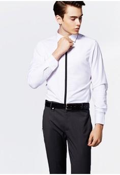 Life8-Formal 領帶飾條 長袖襯衫-11120-白色