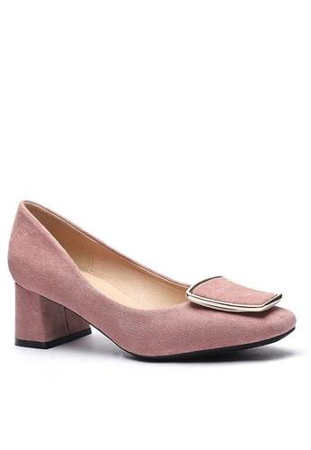 Twenty Eight Shoes 尖頭梯扣絨面高踭鞋1270-42 A5096SHBBF5DD0GS_1