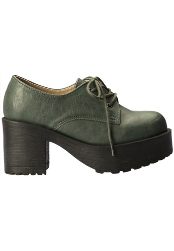 paperplanes green Paperplanes-1703 Fashion Lace-Up Mid Top Cuban Heel Boots Shoes US Women Size PA355SH74FMZSG_1