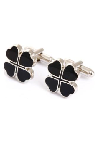 Kings Collection black Lucky Four Leaf Black Cufflinks 6F882AC0CA57B2GS_1