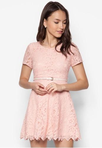 蕾絲zalora 鞋評價腰飾連身裙, 服飾, 洋裝
