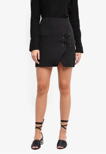 Something Borrowed black Lace Up Detail Mini Skirt 5879FAA7A67989GS_1