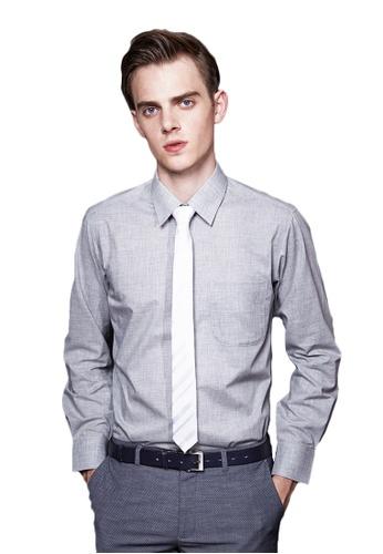 Life8 grey Cotton Business Shirt-11032-Grey LI283AA77ACKSG_1
