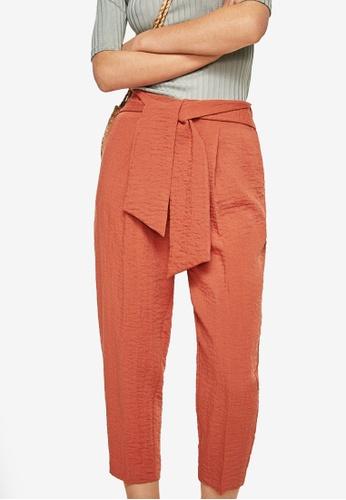 Mango red Bow Belt Trousers 60AC8AAD46D374GS_1