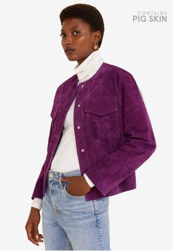 Mango purple Lapels Leather Jacket 97ABEAA408EAE2GS_1