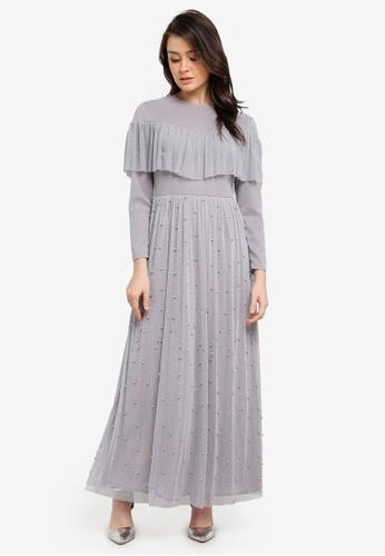 Zalia grey Embellished Mesh Fit & Flare Dress 10086AA2EFEC1FGS_1