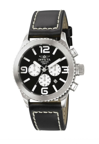 INVICTA black Specialty IN1427 Black Leather Strap Chronograph Men Watch IN456AC0RJ4RMY_1
