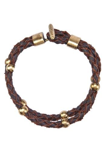 雙圈金屬esprit地址皮革手鍊, 飾品配件, 手環
