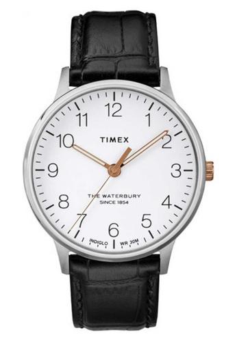 Timex black and silver Timex Waterbury Classic 40mm - Silver-Tone Case & Black Strap (TW2R71300) DEC0DACE0E67B7GS_1