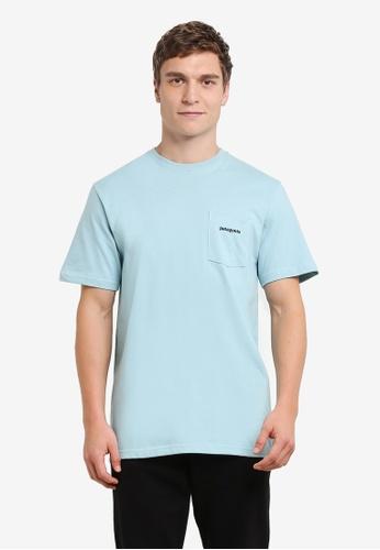 Patagonia blue P-6 Logo Cotton Pocket T-Shirt PA549AA0RQCLMY_1