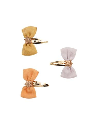 MANGO KIDS orange Set 3 Bow Pins AB540KCCE29557GS_1