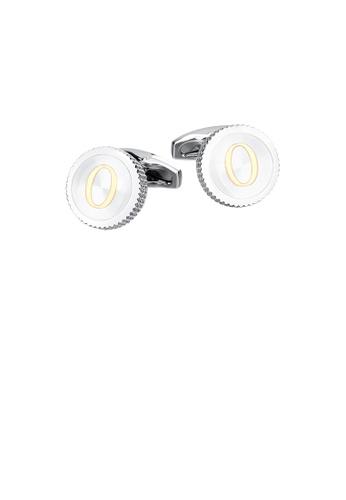 Glamorousky silver Fashion Simple English Alphabet O Round Cufflinks 037B9AC40F12B3GS_1