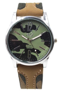 OLJ Alden Army Men's Leather Fabric Wrist Watch A2601