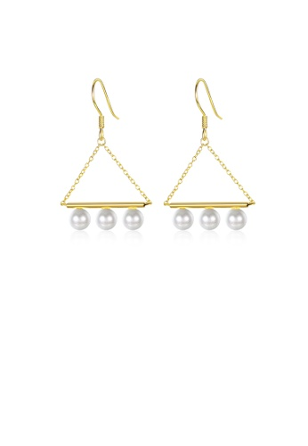Glamorousky white 925 Sterling Silver Plated Gold Fashion Geometric Triangle Pearl Earrings 22A1AACE56D7FDGS_1
