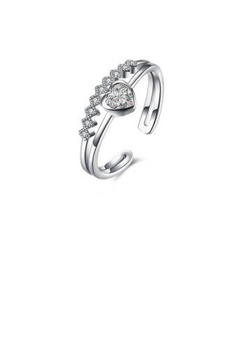 Glamorousky white 925 Sterling Silver Elegant Fashion Heart Shape Cubic Zircon Adjustable Opening Ring D0FFCACFB924B2GS_1