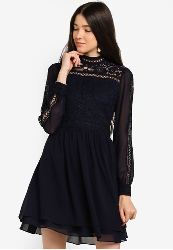 Forever New navy Laurina Lace Skater Dress 986DAAAC7DCDDBGS_1
