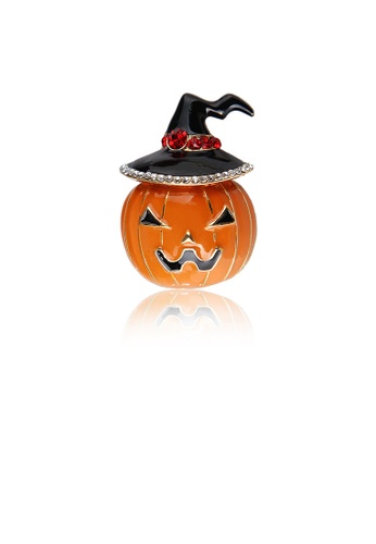 Glamorousky white Simple and Creative Enamel Halloween Pumpkin Brooch with Cubic Zirconia 666AFAC66744BDGS_1