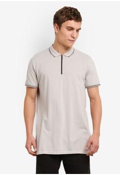 Image of Ae Short Sleeve Longline Zip Polo