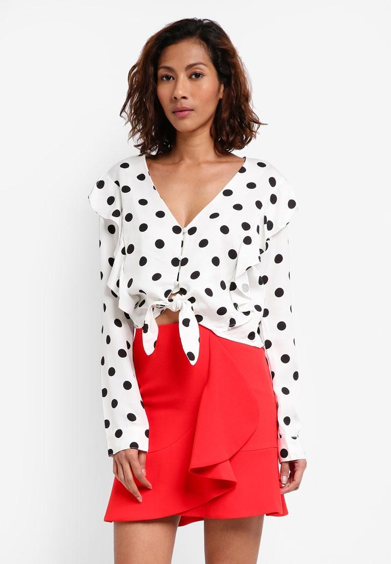 Bardot Spot Tie Spot Spot Bardot Tie Shirt Sqxq0OU