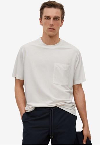MANGO Man white Flowy Pocket T-Shirt A4235AAB2619EEGS_1