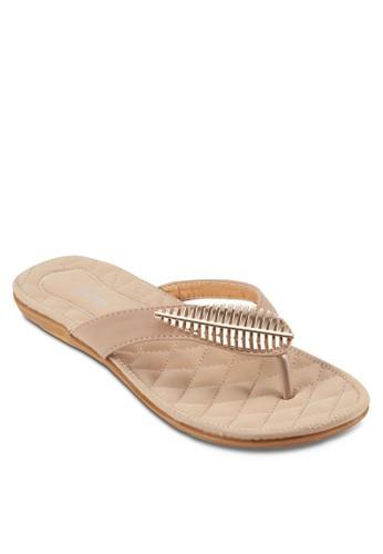 葉子裝飾夾腳涼鞋, esprit 鞋女鞋, 高跟鞋