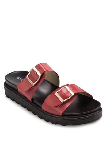 雙扣環寬帶涼鞋zalora 手錶, 女鞋, 涼鞋