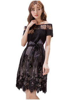 080070e5e8a Ruby's Collection black Off Shoulder Lace Embroidery Short Sleeve Dress  129BAAACAF941BGS_1