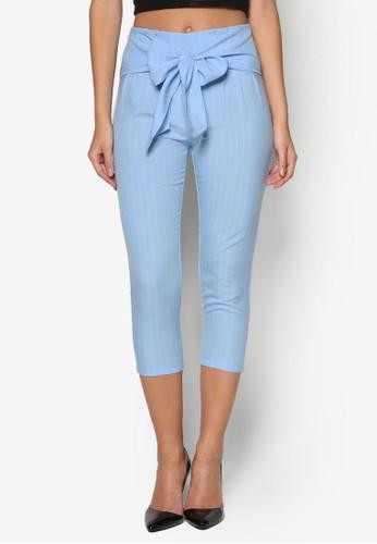 條紋高腰裹飾七分褲, 服飾, 長褲及內搭esprit outlet 高雄褲