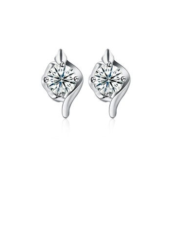 Glamorousky white 925 Sterling Silver Simple Elegant Exquisite Earrings and Ear Studs with Cubic Zircon 68318AC77C87CCGS_1