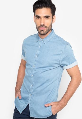 249e6c81a4a Topman blue Bleach Wash Muscle Fit Short Sleeve Denim Shirt TO100AA70SLDPH 1
