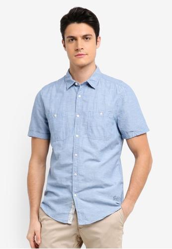 ESPRIT blue Woven Short Sleeve Shirt A50E2AA22A7D12GS_1