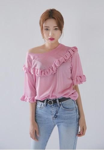 韓式風格荷葉滾邊五分袖上衣, zalora 衣服尺寸服飾, 上衣