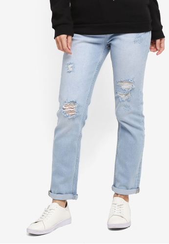 Dorothy Perkins blue Bleach Rip Boyfriend Jeans 1E501AADBD05DFGS_1