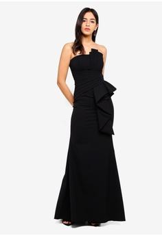 3514d465586 Goddiva black Fan Pleated Boob Tube Maxi Dress C1019AA83E21A4GS 1
