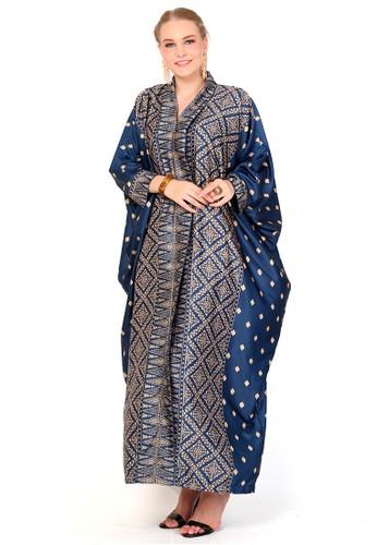 Kanzi by liza yahya blue Kanzi Tapis Long Sleeve Kaftan 4A3B3AA6BBA4B5GS_1