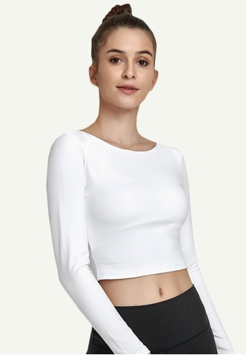 B-Code white ZWG7004Lady Quick Drying Running Fitness Yoga Sports Top -White 00590AAAE50966GS_1