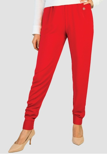 Zaryluq red Cuffed Pants in Scarlet Red 8C75FAAA8918E7GS_1