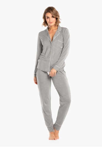 Deshabille grey Manor long PJ Set F7480AA90D50B9GS_1