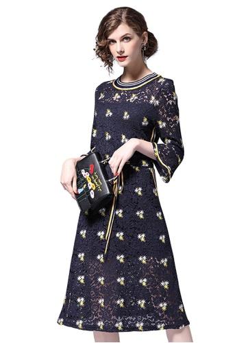 Sunnydaysweety blue S/S New Blue Lace One Piece Dress CA031405-0 F2859AA7189233GS_1