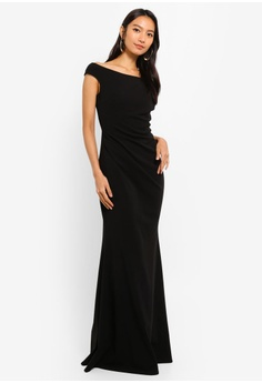 21537e80f4cb Goddiva black Fishtail Maxi Dress With Pleating Detail 5FFD1AAAE957ECGS 1