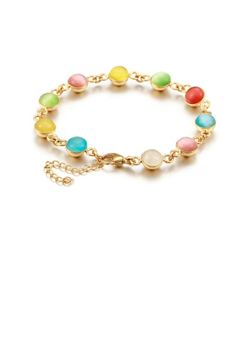 Glamorousky silver Fashion and Elegant Plated Gold Geometric Color Imitation Opal 316L Stainless Steel Bracelet 8F7C7AC4274614GS_1